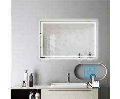 Aica Sanitaire - Miroir salle de bain 100x70cm anti-buée Mural Lumière Illumination avec éclairage