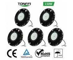 Lot de 5-Tonffi 150W Thare de Travail LED UFO Spot LED 18000LM Projecteur Industriel Rond IP65