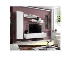 Meuble TV FLY G1 design, coloris blanc brillant. Meuble suspendu moderne et tendance pour votre