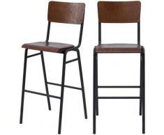 Chaise de bar écolier Clem en bois foncé 75 cm (lot de 2) - Bois