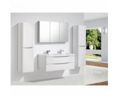Meuble de salle de bain à suspendre SMILE 1200, blanc-lys - en option miroir et armoire murale:
