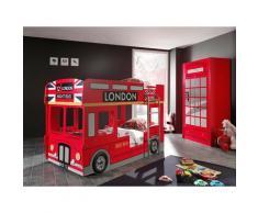Pack - Lit Superposé Enfant Bus & Armoire 2 Portes Cabine londres Rouge - Paris Prix