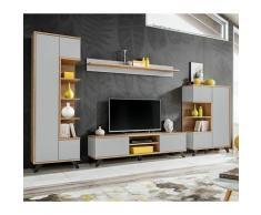 Ensemble Meuble Tv Design bogota 330cm Gris & Naturel - Paris Prix