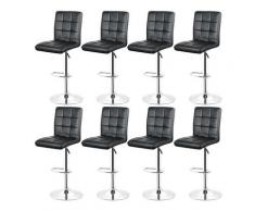 Lot de 8 Tabourets de Bar NOIR en Simili Cuir Chaises Bar Style Contemporain