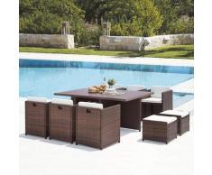 Sunset 10 : salon de jardin encastrable 10 places en résine tressée et aluminium marron/blanc