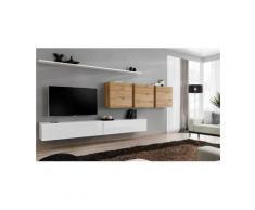 Price Factory - Ensemble meuble salon SWITCH VII design, coloris blanc brillant et chêne Wotan.