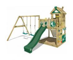 WICKEY Aire de jeux Portique bois Smart Sparkle avec balançoire et toboggan vert Cabane enfant