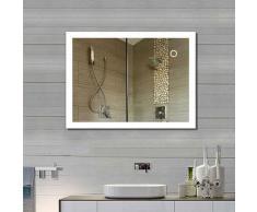 Oobest - Miroir Salle de Bain avec LED Nouvelle Génération Anti-Brouillard Bouton Tactile Cadre en