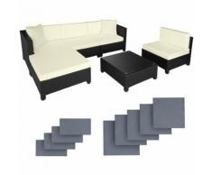 Salon de jardin AMY Modulable 5 Places 4 Fauteuils 1 Tabouret 1 Table en Résine Tressée Structure