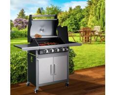 Brast - Barbecue gaz 4+1 brûleurs 14,5kW certifié acier inoxydable de haute qualité, nettoyage