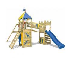 WICKEY Aire de jeux Portique bois Smart Fort avec balançoire et toboggan bleu Maison enfant