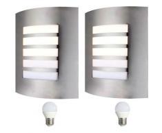 2 Réglez appliques en acier inoxydable extérieurs lampes du jeu y compris LED Leuchtmittel