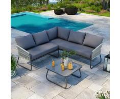Salon de jardin design avec cordes aluminium - Gris - intérieur/extérieur - Utah - Gris