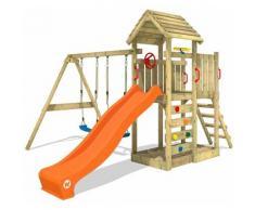 WICKEY Aire de jeux Portique bois MultiFlyer Toit en bois avec balançoire et toboggan orange Maison