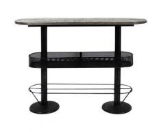 Made In Meubles - Table haute ovale bois métal patine grise avec rangement - Bois