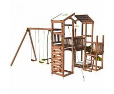 Aire de jeux pour enfant 3 tours avec portique et mur d'escalade - CRAZY Towers sans option
