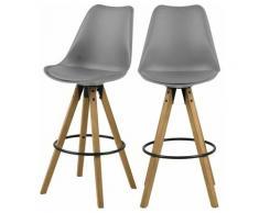 Selsey DJUM - Lot de 2 tabourets de bar - gris - en similicuir - pieds en bois - style moderne