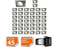 LOT DE 45 SPOT ENCASTRABLE ORIENTABLE LED CARRE ALU BROSSE GU10 230V eq. 50W BLANC CHAUD