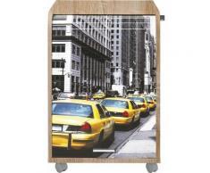 Caisson à rideau 2 tiroirs chêne naturel imprimé taxi jaune Orga