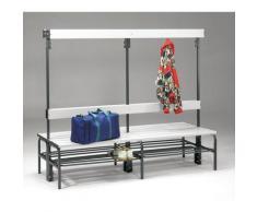 Banc pour vestiaire en acier, pour environnements humides - h x p 1600 x 695 mm - L 1500 mm, avec