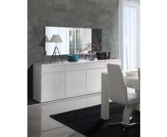 Price Factory - Buffet, bahut, enfilade 4 portes et 4 tiroirs + miroirs FABIO. Blanc brillant.