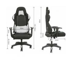 ®Chaise Fauteuil De Bureau Gaming Gamer Pivotant Racing Inclinable 150 °blanc - Sifree