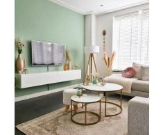 Lampadaire Moderne en bois avec abat-jour blanc - Tripe Moderne Luminaire interieur - Qazqa
