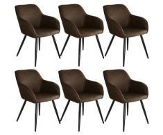 Tectake - Lot de 6 chaises tissu MARILYN - Chaise, chaise de salle à manger, chaise de salon - brun