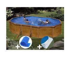 Kit piscine acier aspect bois Gré Sicilia ovale 5,27 x 3,27 x 1,22 m + Bâche à bulles + Tapis de sol