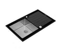 Teka - Lux 1 cuve 1 égouttoir 86 verre noir & inox poli - Noir