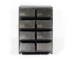 Chiffonnier industriel tout métal 8 casiers amovibles - Gris foncé