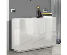 Dmora Meuble d'entrée avec 3 portes et étagères internes, Made in Italy, Hall d'entrée moderne,
