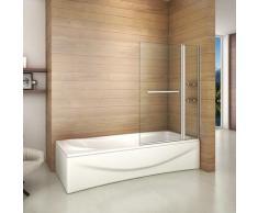 Pare baignoire 100x140cm paroi de douche rectangle pivotante à 240 degré securit avec