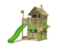 Aire de jeux Portique bois RebelRacer avec toboggan vert pomme Maison enfant exterieur avec bac à