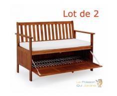 Lot de 2 : Banc de jardin avec coffre intégré en Bois D'acacia - Longueur : 120 cm