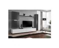 Ensemble de meuble pour salon mural SWITCH VIII. Meuble TV mural design, coloris blanc et gris