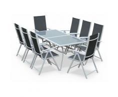 Salon de jardin en aluminium table 8 places Blanc et gris textilène fauteuil