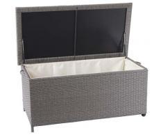 Coffre à coussins en polyrotin, HHG-570, coffre jardin ~ Premium gris, 51x115x59 cm, 250l