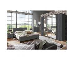 Chambre à coucher complète adulte (lit 160 x 200cm + 2 chevets + armoire + commode) coloris gris