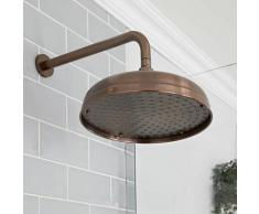 Elizabeth - Pommeau de douche pluie rond fixe rétro 30 cm avec bras mural - Bronze huilé - Hudson
