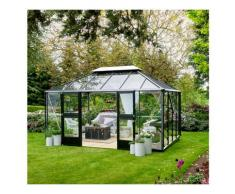 serre de jardin verre trempé 13m² aluminium/noir - f09730 - Juliana