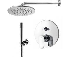 Paffoni -Solution de douche complète avec: pommeau de douche ronde, mitigeur de douche encastrable