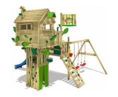 Aire de jeux Portique bois Smart Treetop avec balançoire et toboggan bleu Cabane enfant exterieur