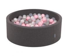 KiddyMoon 90X30cm/300 Balles ∅ 7Cm Piscine À Balles Pour Bébé Rond Fabriqué En UE, Gris