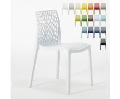 Chaise en polypropylène nid d'abeille cuisine bar café Gruvyer Blanc - Grand Soleil