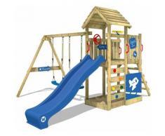 Aire de jeux Portique bois MultiFlyer Deluxe avec balançoire et toboggan bleu Maison enfant