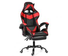Chaise Fauteuil De Bureau Rouge Gaming Gamer Pivotant Racing Inclinable 150 ° Rouge