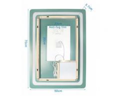 Miroir Salle de Bain avec Eclairage anti-brouillard Miroir LED 50*70cm