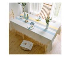 Nappe rectangulaire, couverture de table de gland de broderie de treillis, utilisée pour la