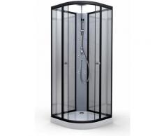 Cabine de douche en alu laqué noir Noir
